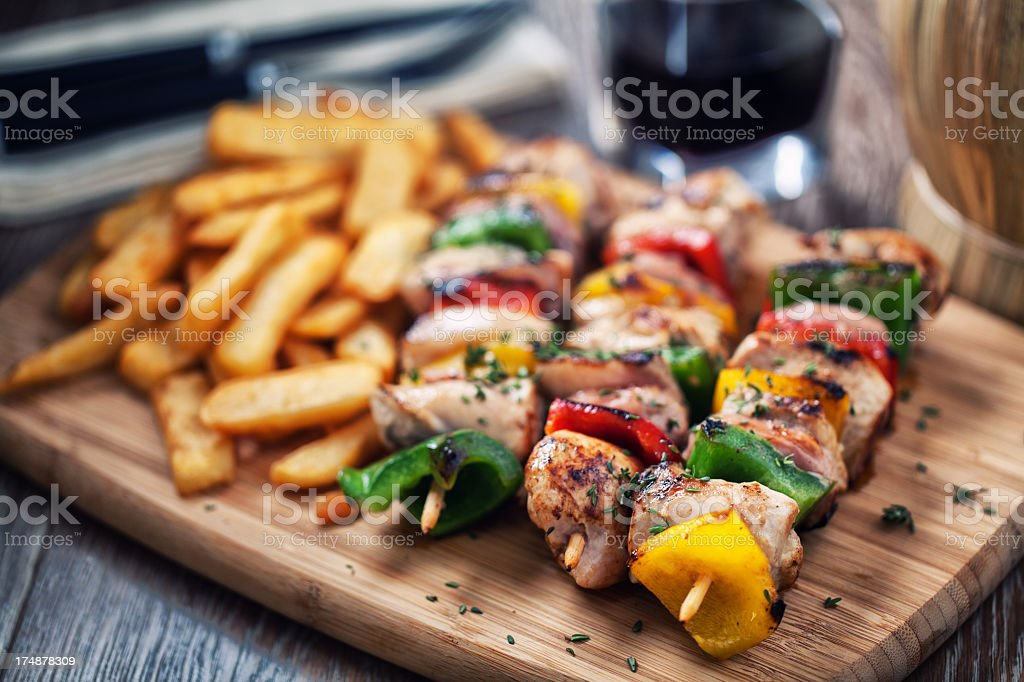 Chicken  Skewered with Potatoes royalty-free stock photo