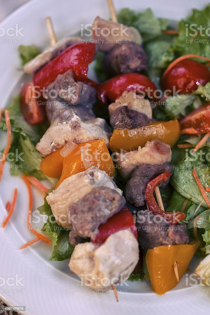 Chicken Skewered with Salad stock photo