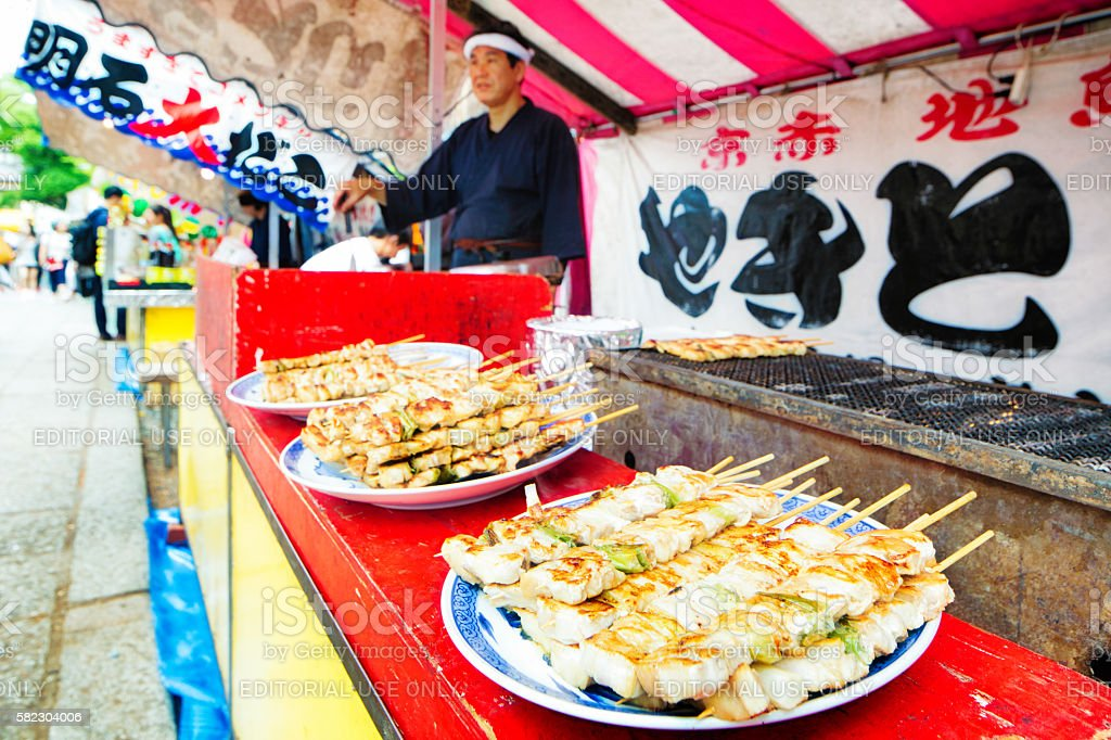 Chicken skewers for sale at street market stock photo