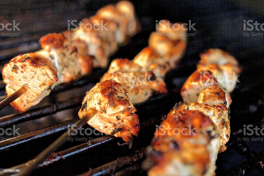 Chicken Skewers on Barbecue stock photo