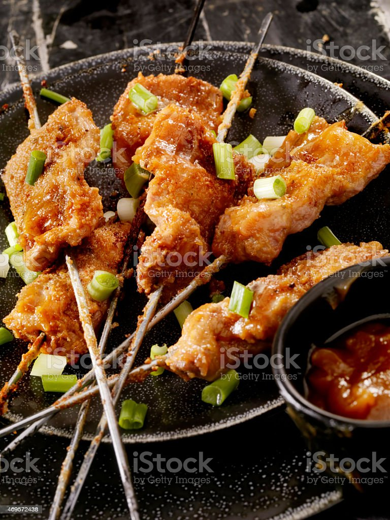 Chicken Skewers with Peanut Sauce stock photo