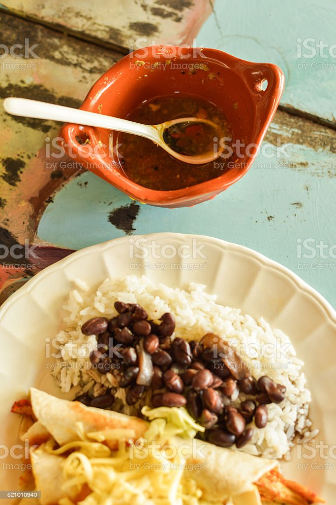 Chicken Soft Tacos, Black Beans & Rice and Salsa, Mexico stock photo