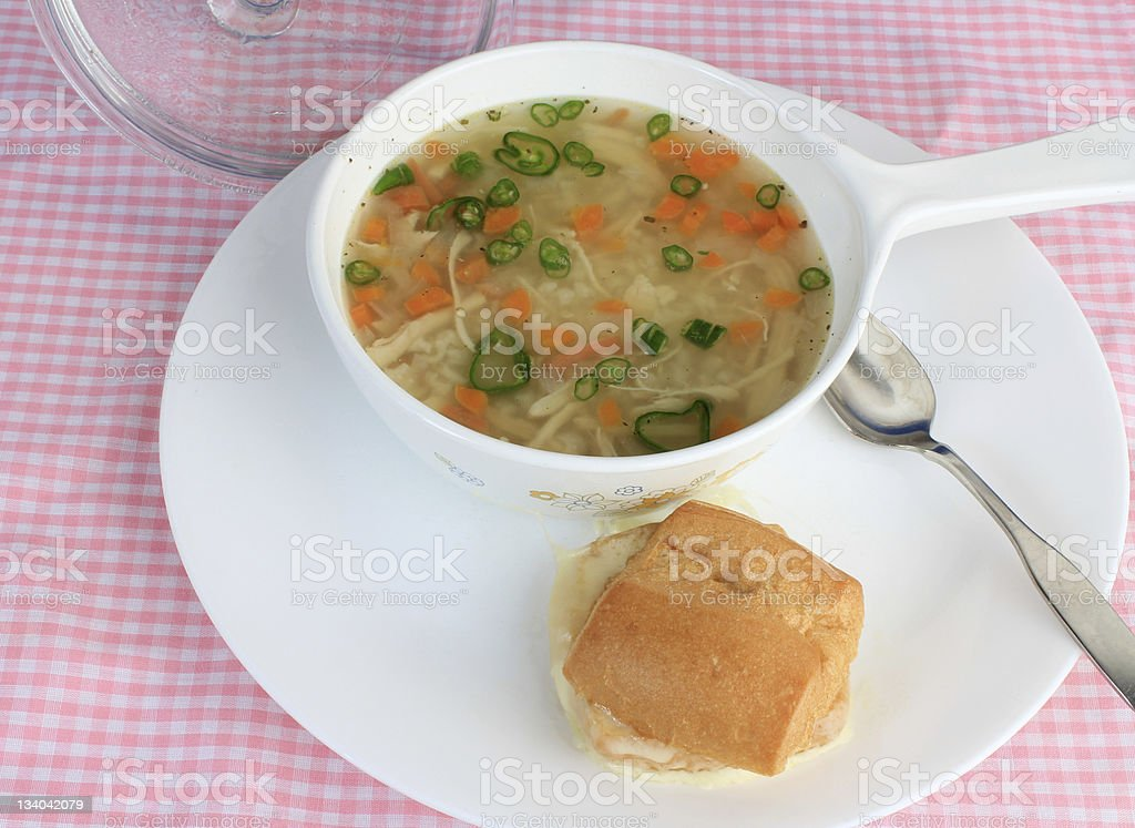 Chicken Soup and Sandwich royalty-free stock photo