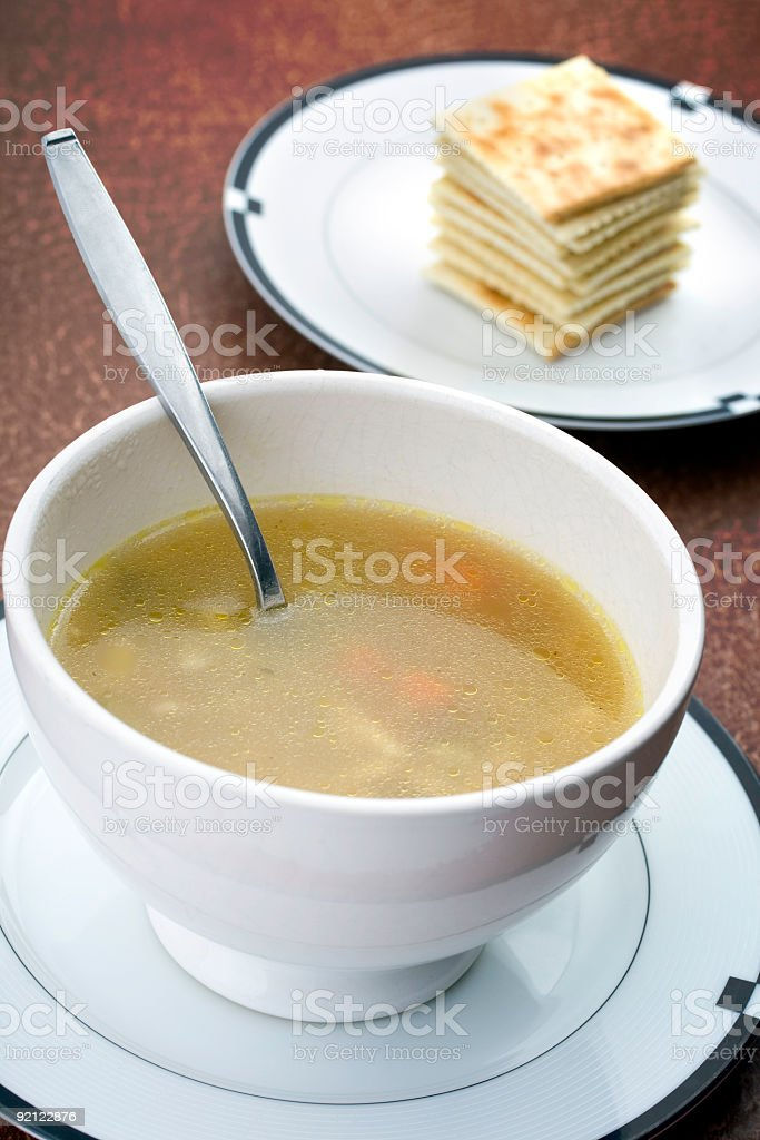 Chicken Soup with a stack of Crackers stock photo
