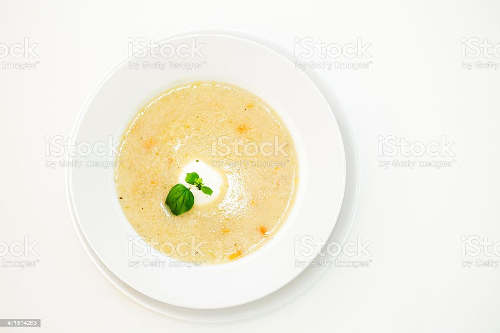 Chicken soup with sour cream royalty-free stock photo