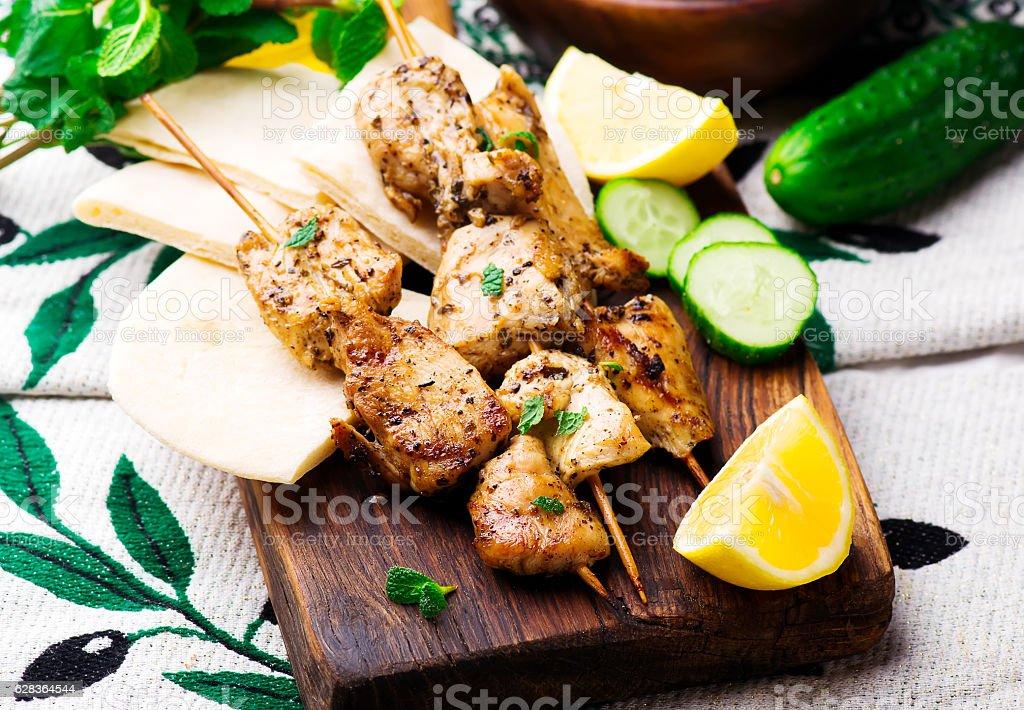 Chicken Souvlaki with pita and tzatziki stock photo