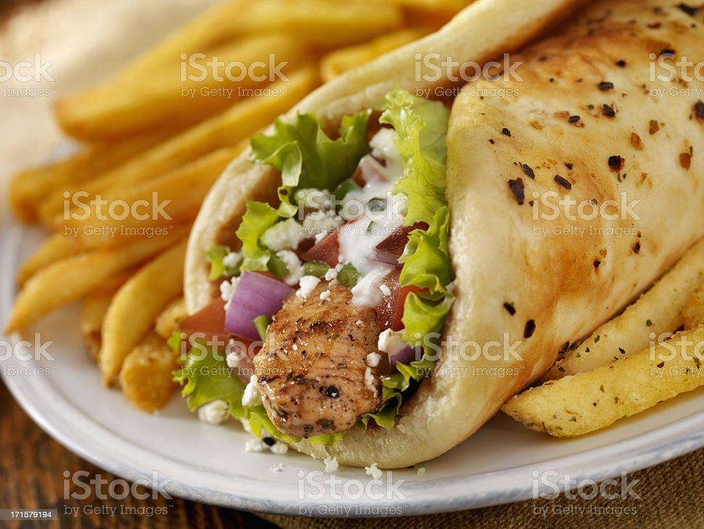 Chicken Souvlaki Wrap stock photo