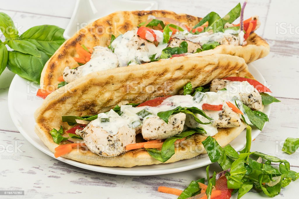 Chicken souvlaki wrap sandwich stock photo