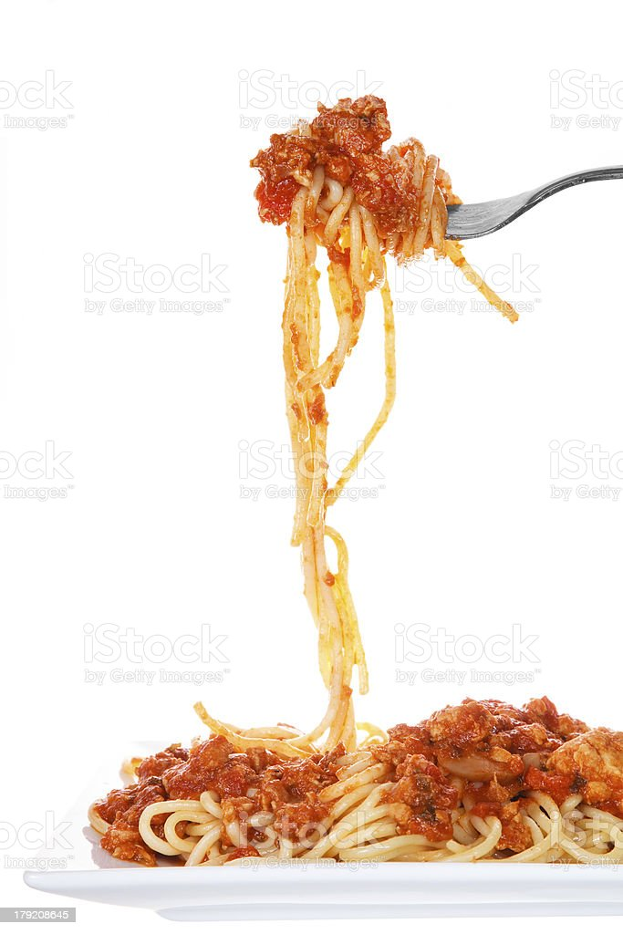 Chicken spaghetti bolognese isolated stock photo