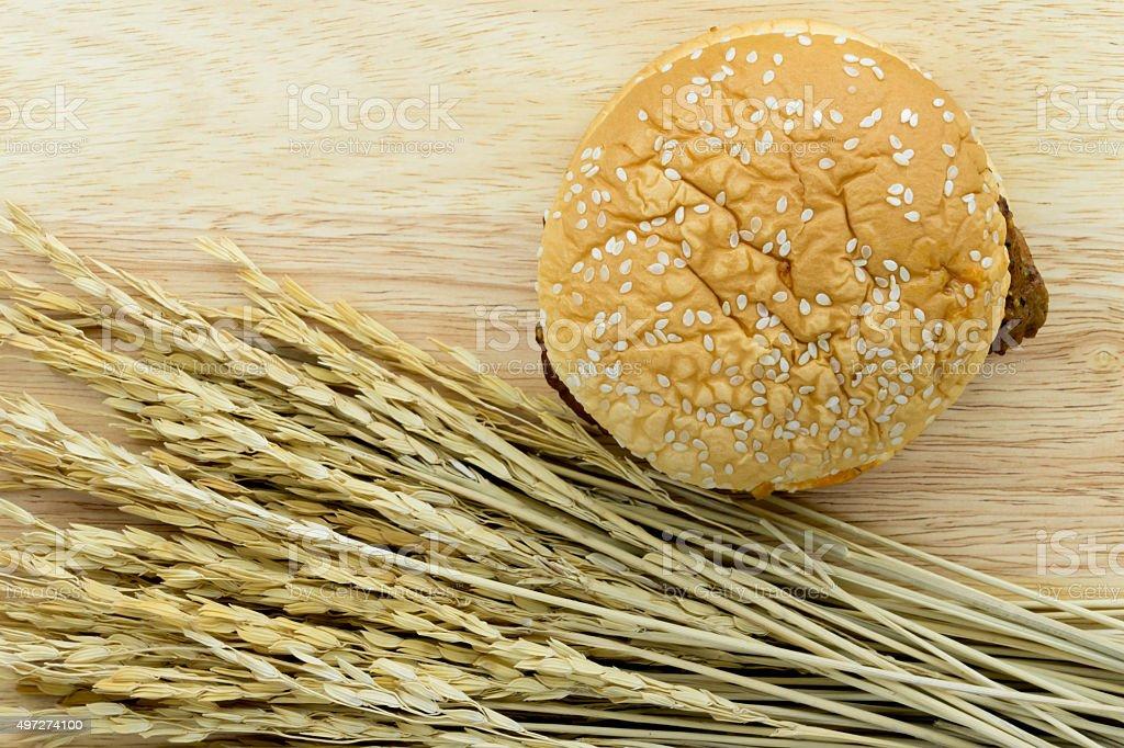Chicken Steak Burger stock photo