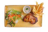 chicken steak in plate on white background