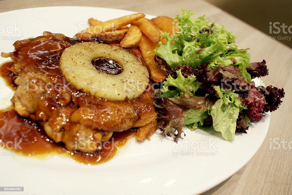 Chicken steak stock photo