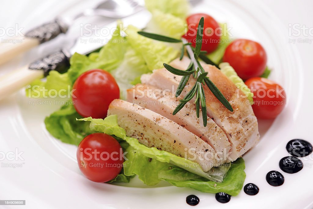 Chicken steak with salad royalty-free stock photo
