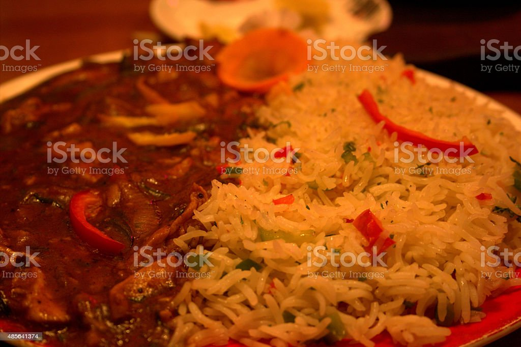 Chicken Steak with Vegetable Rice stock photo