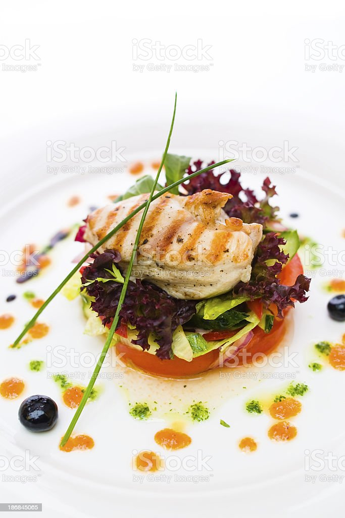 Chicken Steak with vegetables stock photo