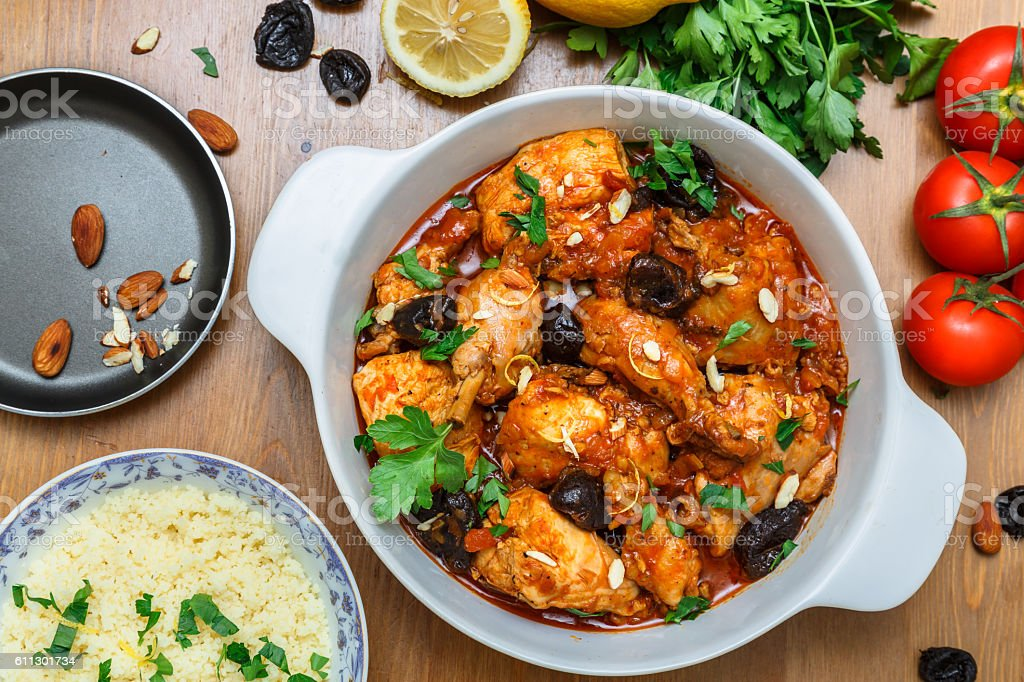 Chicken stew with lots of juicy prunes, top view stock photo