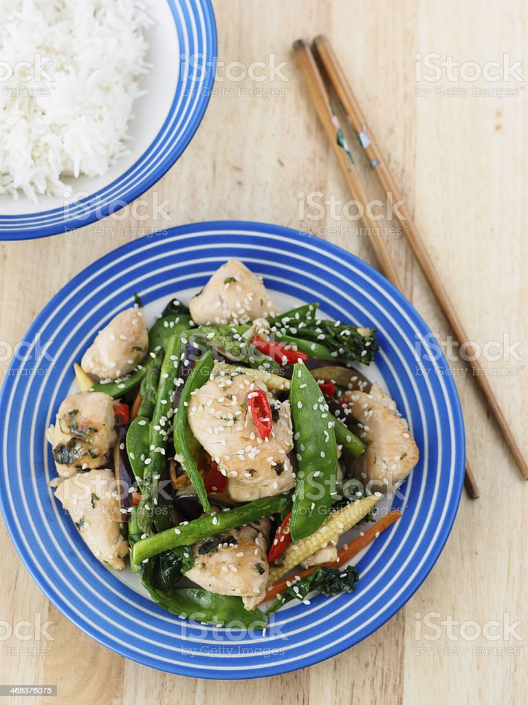 Chicken Stir-fried royalty-free stock photo