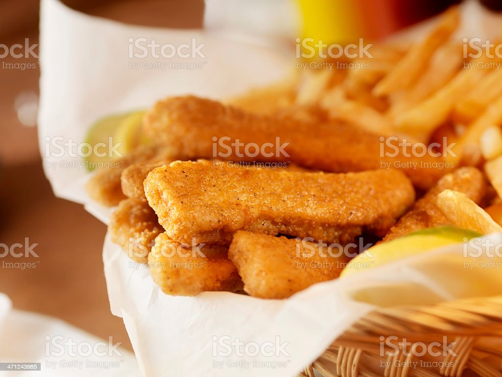 Chicken Strips with French Fries royalty-free stock photo