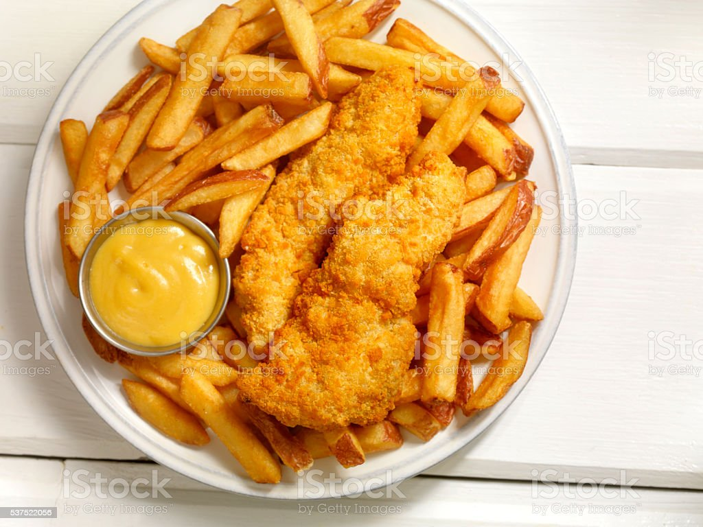 Chicken Strips with French Fries stock photo