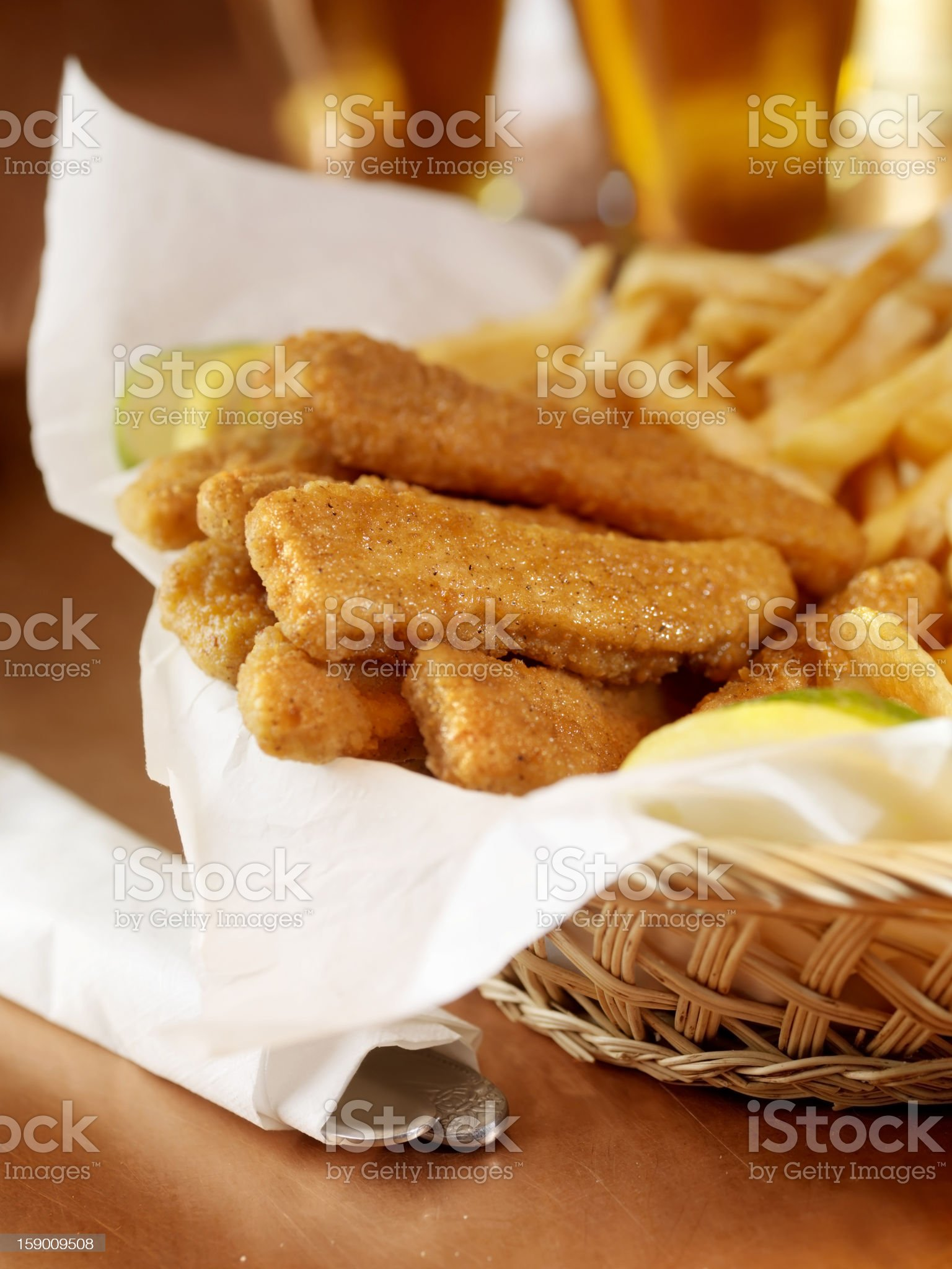 Chicken Strips with Fries and a Beer royalty-free stock photo