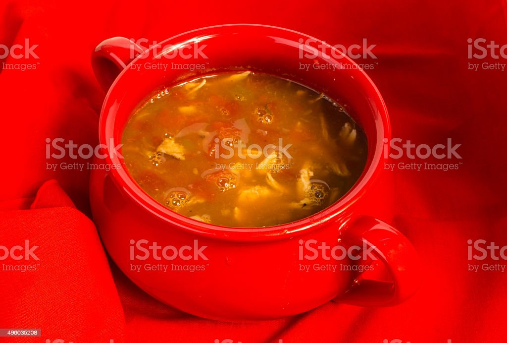 Chicken Taco Soup in Bakeware Bowl stock photo