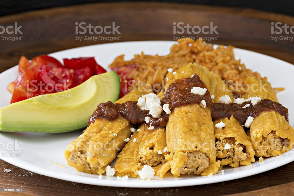 Chicken Tamales And Rice stock photo