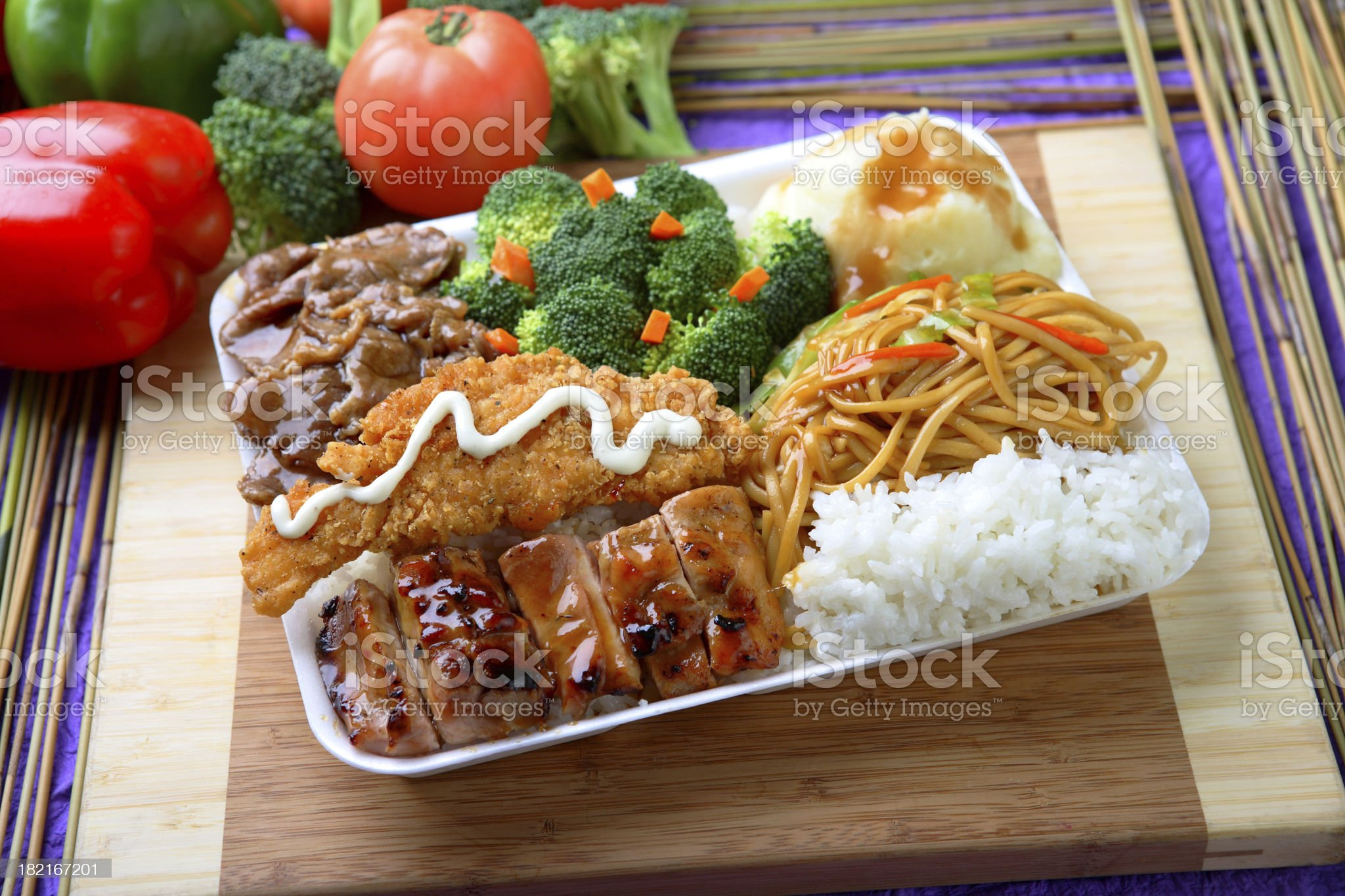 Chicken Teriyaki & Cutlet Combo royalty-free stock photo
