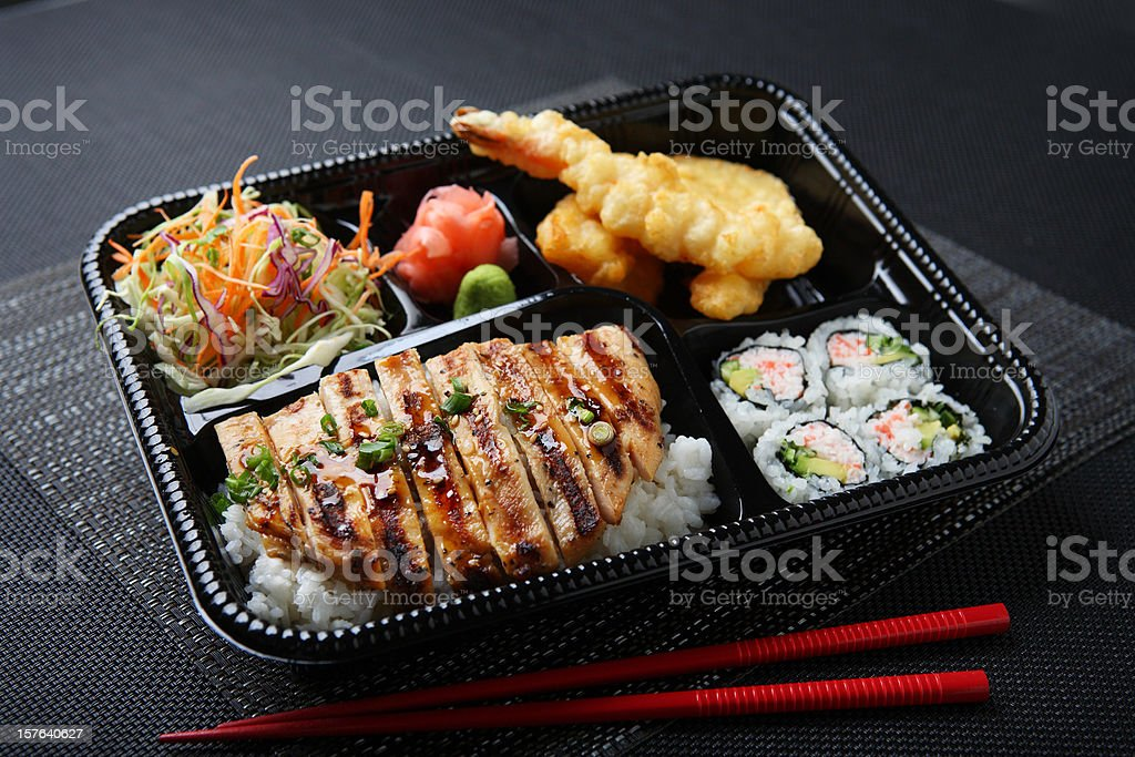 Chicken Teriyaki Lunch Box stock photo