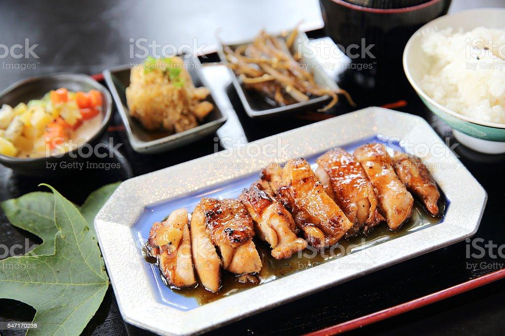 chicken teriyaki set stock photo