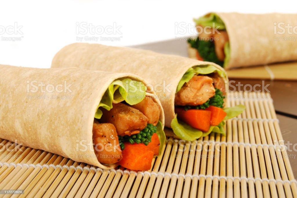 Chicken teriyaki wrap sandwiches stock photo