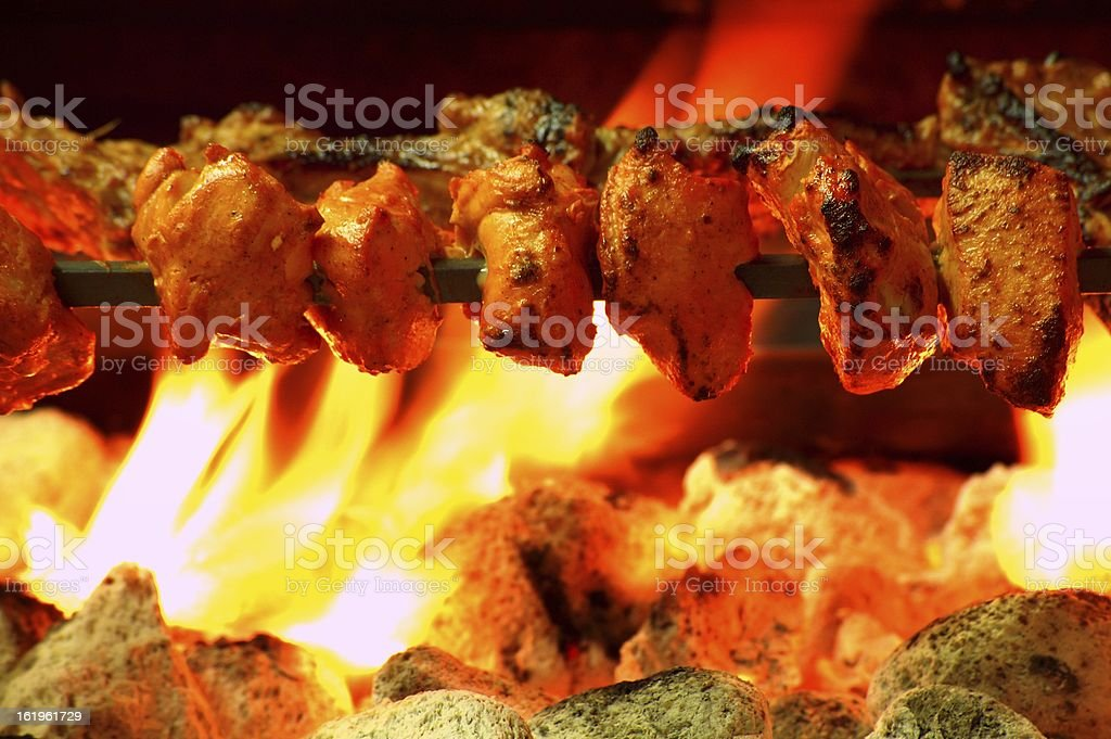 chicken tikka kebab on charcoal grill royalty-free stock photo