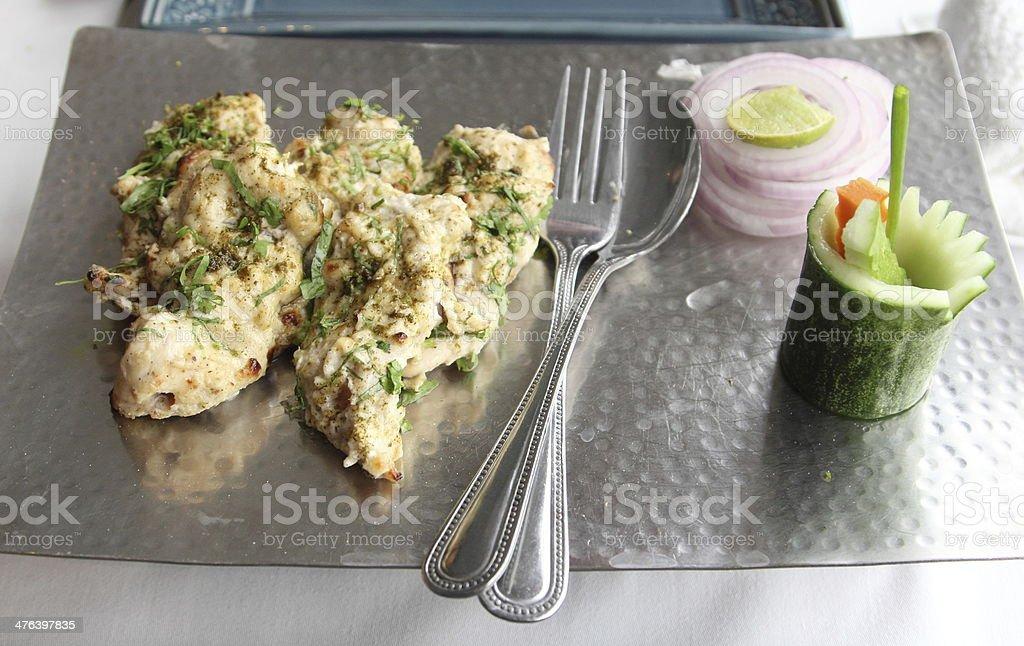 Chicken Tikka Kebabs royalty-free stock photo