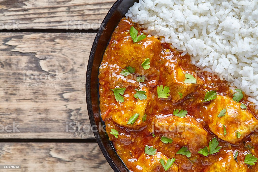 Chicken tikka masala traditional Asian spicy national meat food stock photo