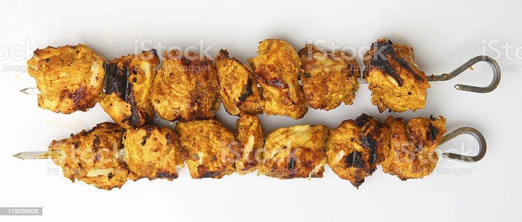 Chicken Tikka on Kebab Skewers royalty-free stock photo