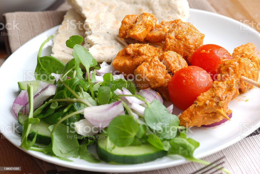 Chicken tikka skewers royalty-free stock photo