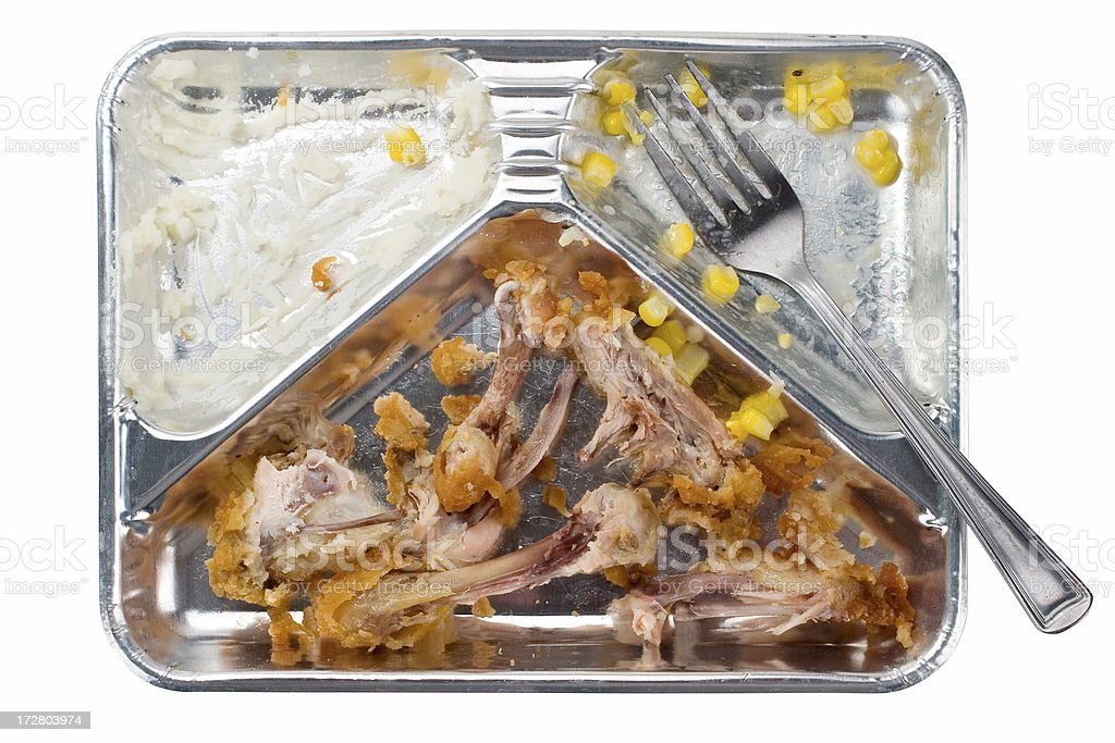 Chicken TV Dinner Remains stock photo