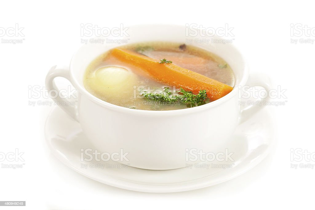 Chicken vegetable soup stock photo
