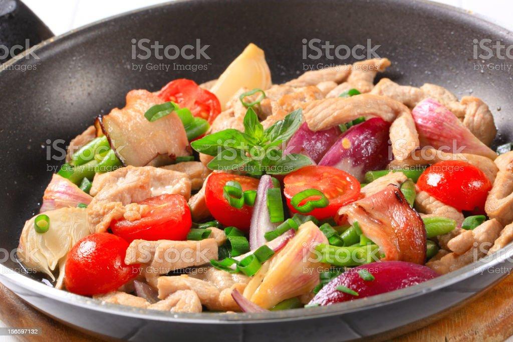 Chicken vegetable stir fry royalty-free stock photo