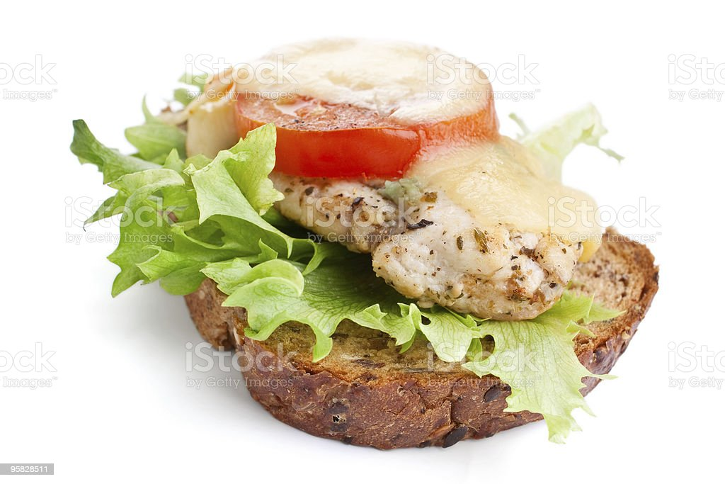 chicken, vegetables and cheese sandwich royalty-free stock photo