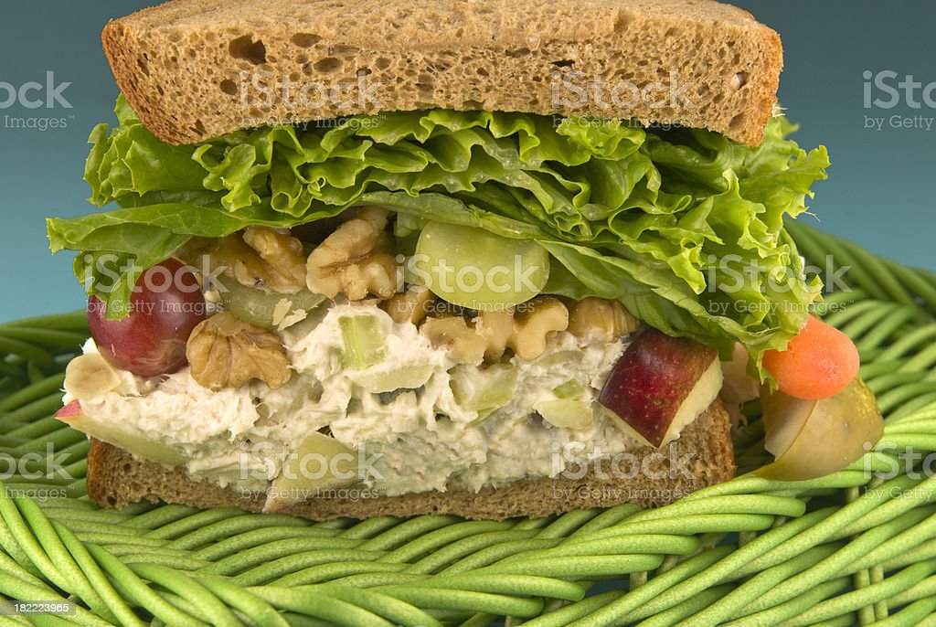 Chicken Waldorf Salad Sandwich & Apples, Grapes, Celery & Healthy Vegetables royalty-free stock photo