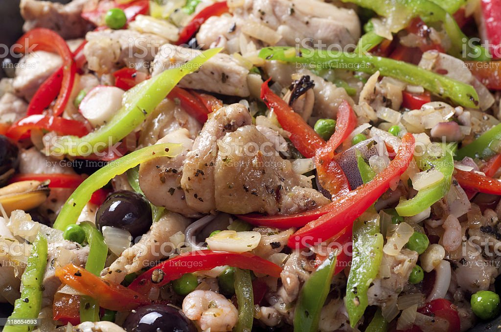 Chicken white meat with chopped vegetables and seafood stock photo