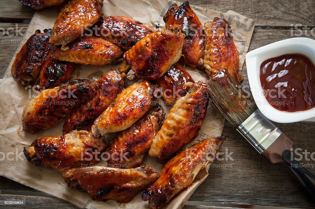 chicken wing with sauce stock photo