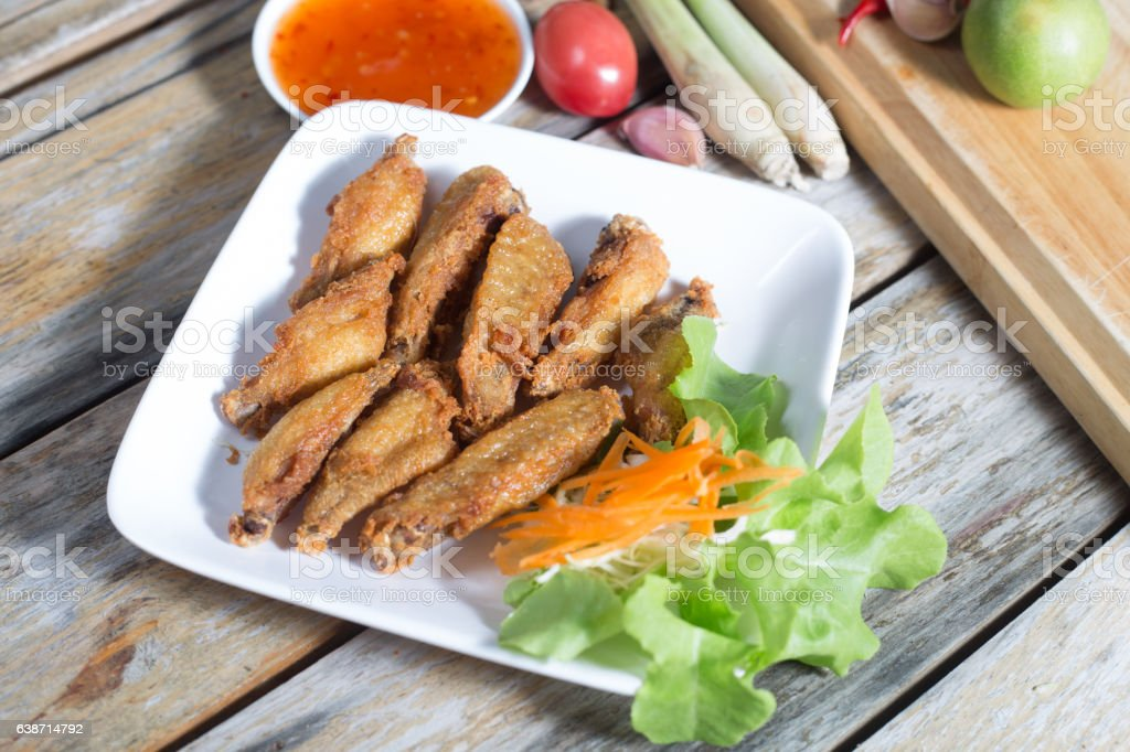 Chicken wings, fried foods (Thailand). stock photo