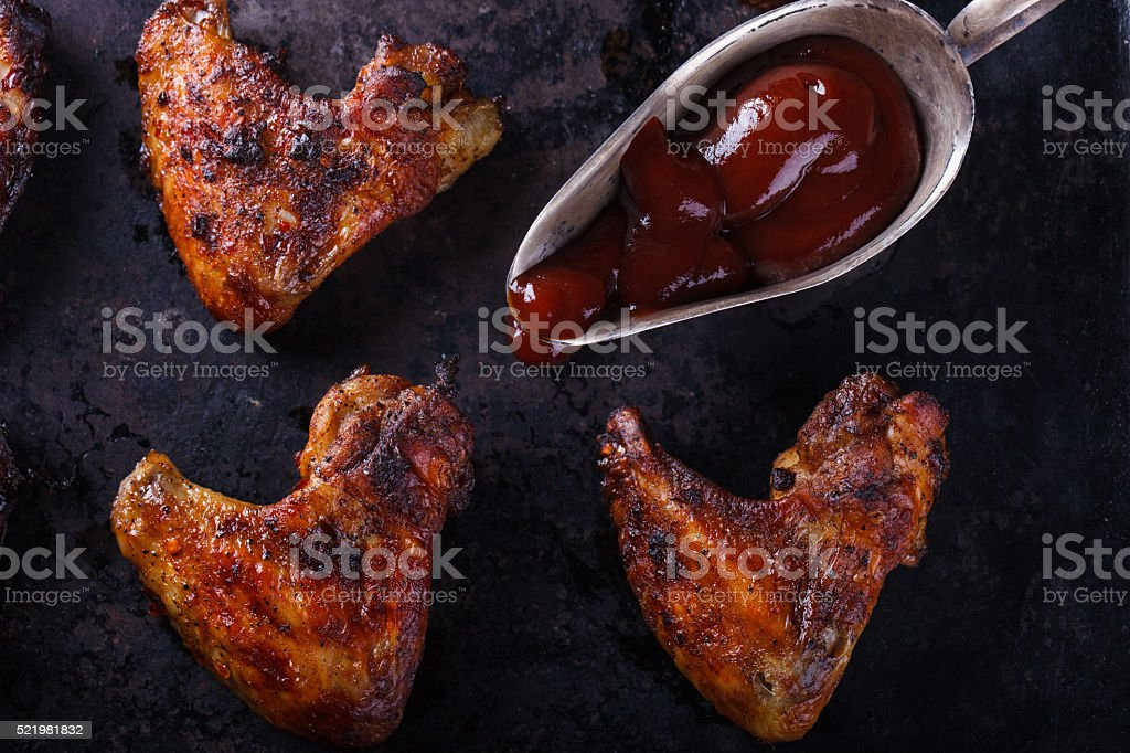 Chicken wings fried stock photo