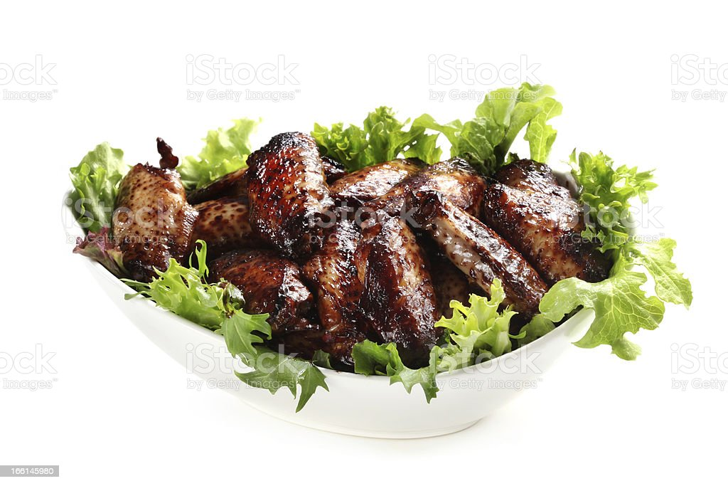 Chicken Wings in Bowl Isolated royalty-free stock photo
