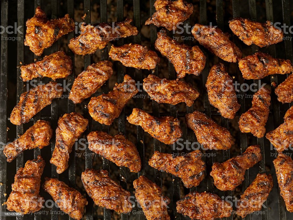 BBQ Chicken Wings on the Grill royalty-free stock photo