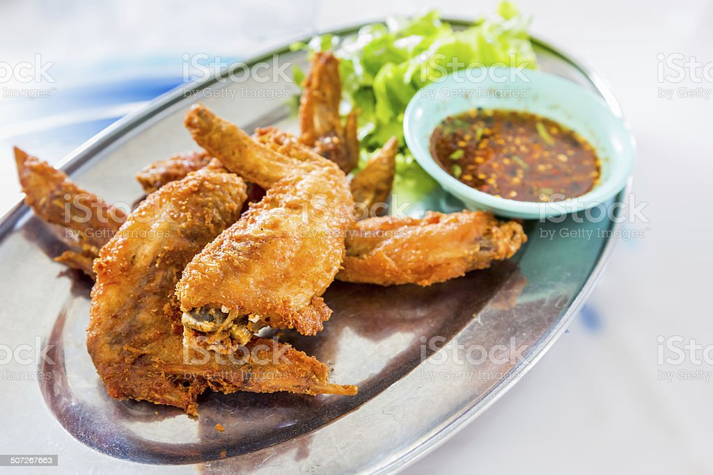 chicken wings with spicy sauce,Thai style. stock photo