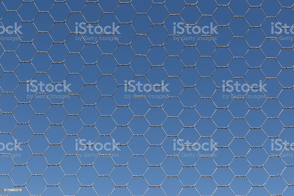 Chicken Wire Fence on Blue Sky stock photo