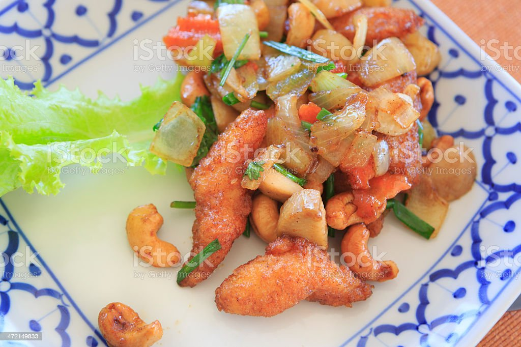 Chicken with cashew nuts stock photo