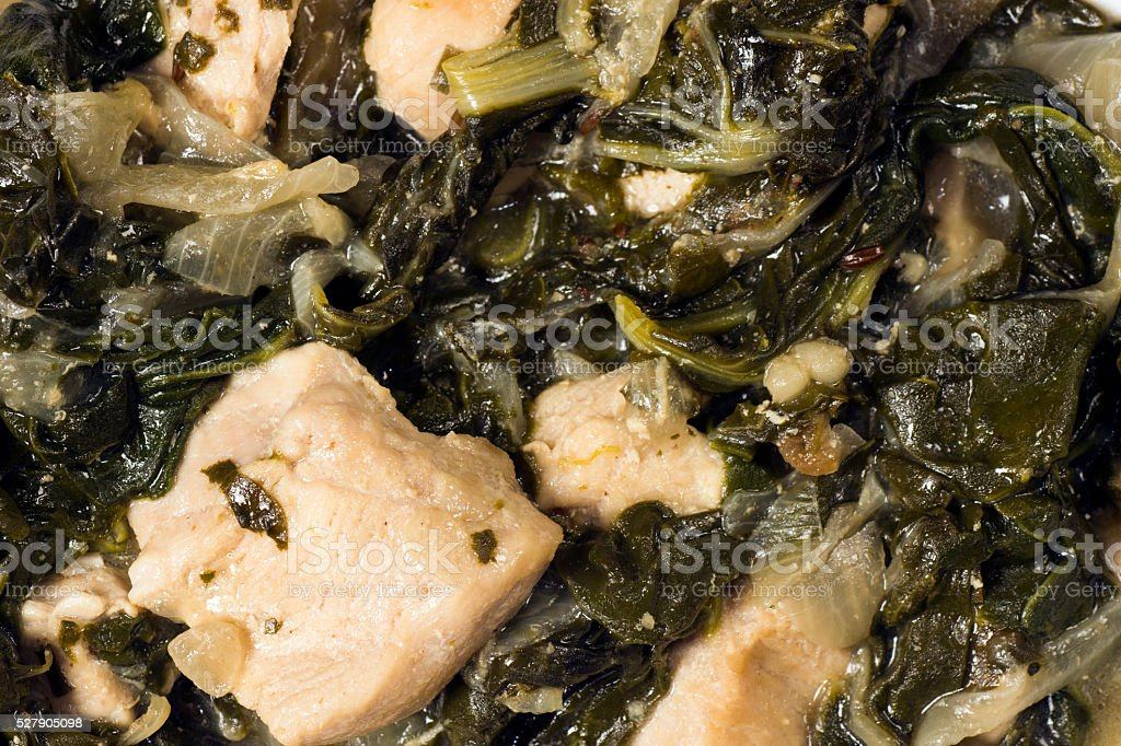 chicken with mangold and spinach stock photo